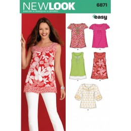 New Look Sewing Pattern 6871 Misses' Pullover Top or Tunic