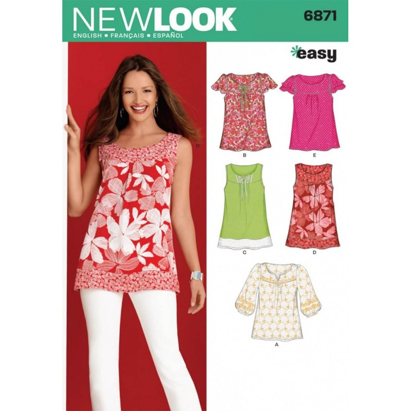New Look Misses' Pullover Top or Tunic Sewing Pattern 6871