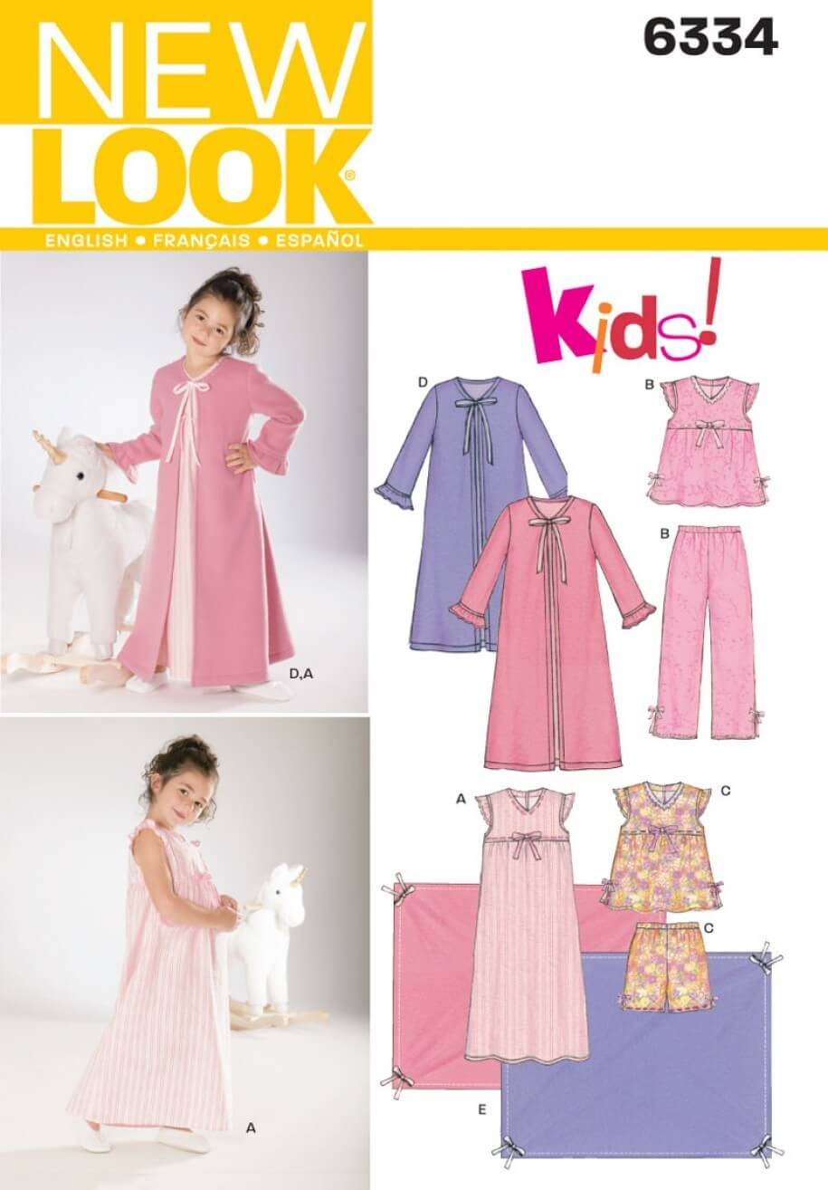 New Look Childs Nightgown, Pyjamas, Sewing Pattern 6334