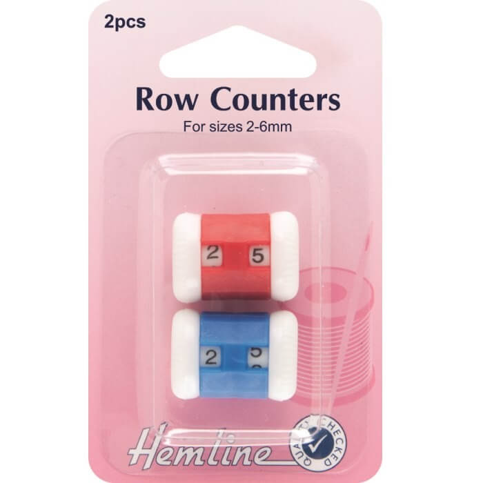 Hemline Knitting Row Counters Red And Blue