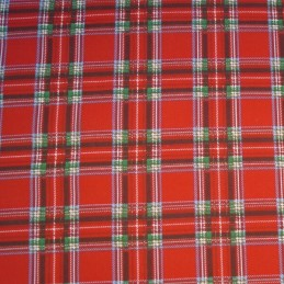 Polycotton Fabric Scottish Style Red & Green Tartans Plaid Check Christmas