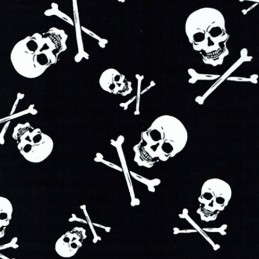 100% Cotton Patchwork Fabric Halloween Black & White Skull & Crossbones