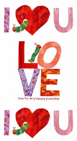 The Very Hungry Caterpillar Panel I Heart You Love 100% Cotton Fabric (Makower)