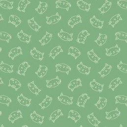 Crafty Cats Heads Tossed On Green 100% Cotton Fabric (Makower)