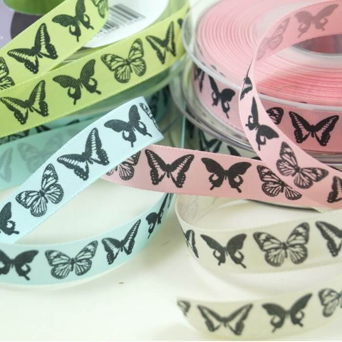Couture Dancing Butterflies Ribbon 2m x 15mm In Sky, Pink, Pumice, Kiwi