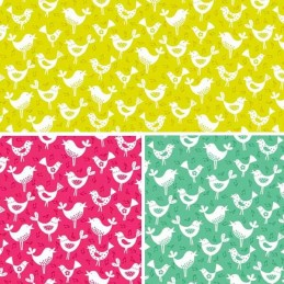 100% Cotton Fabric Makower Fantasy Musical Singing Tweety Birds Animals