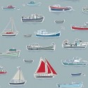 Marina Sailing Fishing Boats Fleet Sea Ocean 100% Cotton Fabric (Makower)