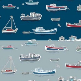 100% Cotton Fabric Makower Marina Sailing Fishing Boats Fleet Sea Ocean