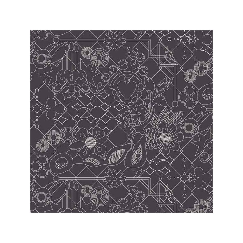 Sunprints Ornate Floral Abstract Birds & Locks 100% Cotton Fabric (Makower)