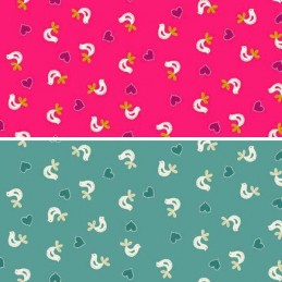 100% Cotton Fabric Makower Papillon Hand Stitched Birds & Love Hearts