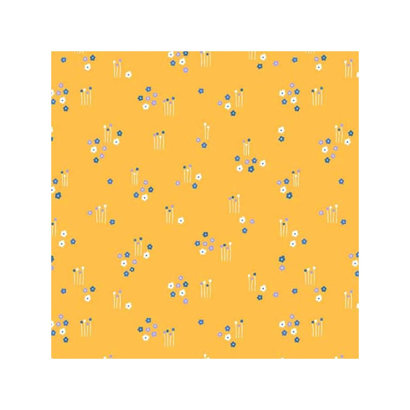 Floral Splendour Sparce Flower Fields Meadow 100% Cotton Fabric (Makower)