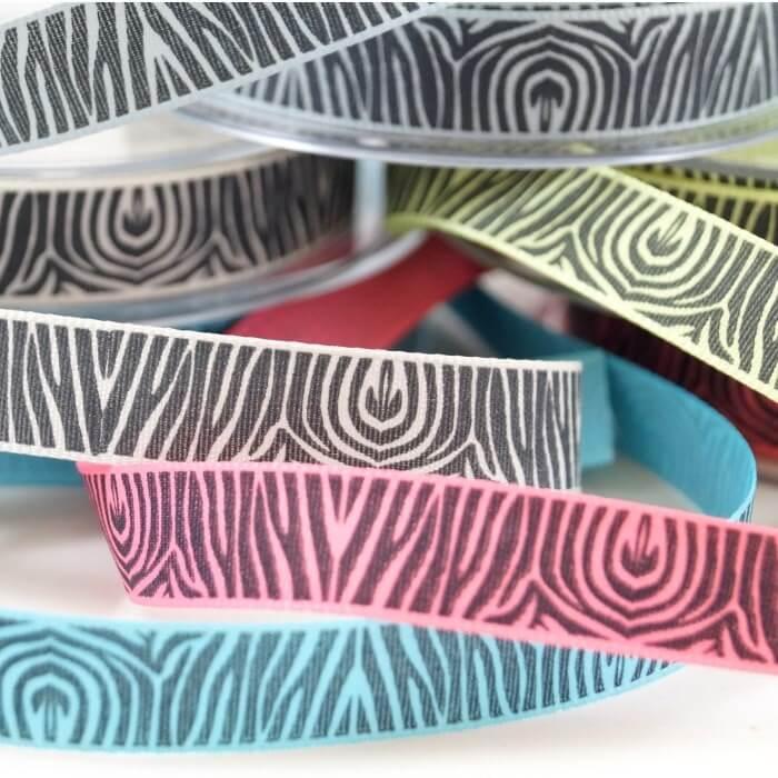 Couture Zebra Print Ribbon 2m x 15mm In Duck Egg, Pumice , Kiwi, Aqua, Pink