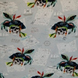 Caribbean Pirates Finding The Treasure Map 96% Cotton 4% Elastane Fabric