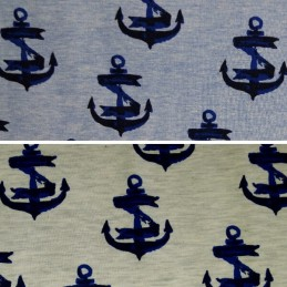 Ribbon Wrapped Authentic Anchors Nautical Boat Cotton Elastane Jersey Fabric (P)
