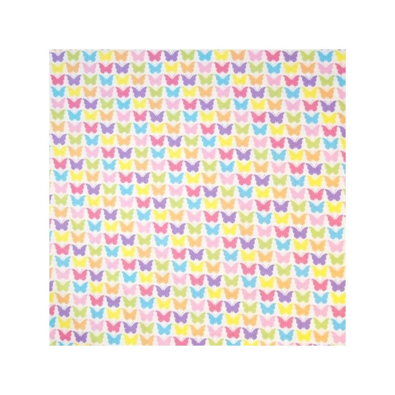 Pretty Co-ordinated Fluttering Bright Butterflies 100% Cotton Fabric (Nutex)