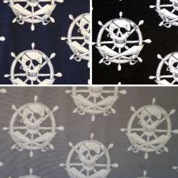 Kings Of The Sea Skull & Crossbones On Helms Cotton Elastane Jersey Fabric (P)