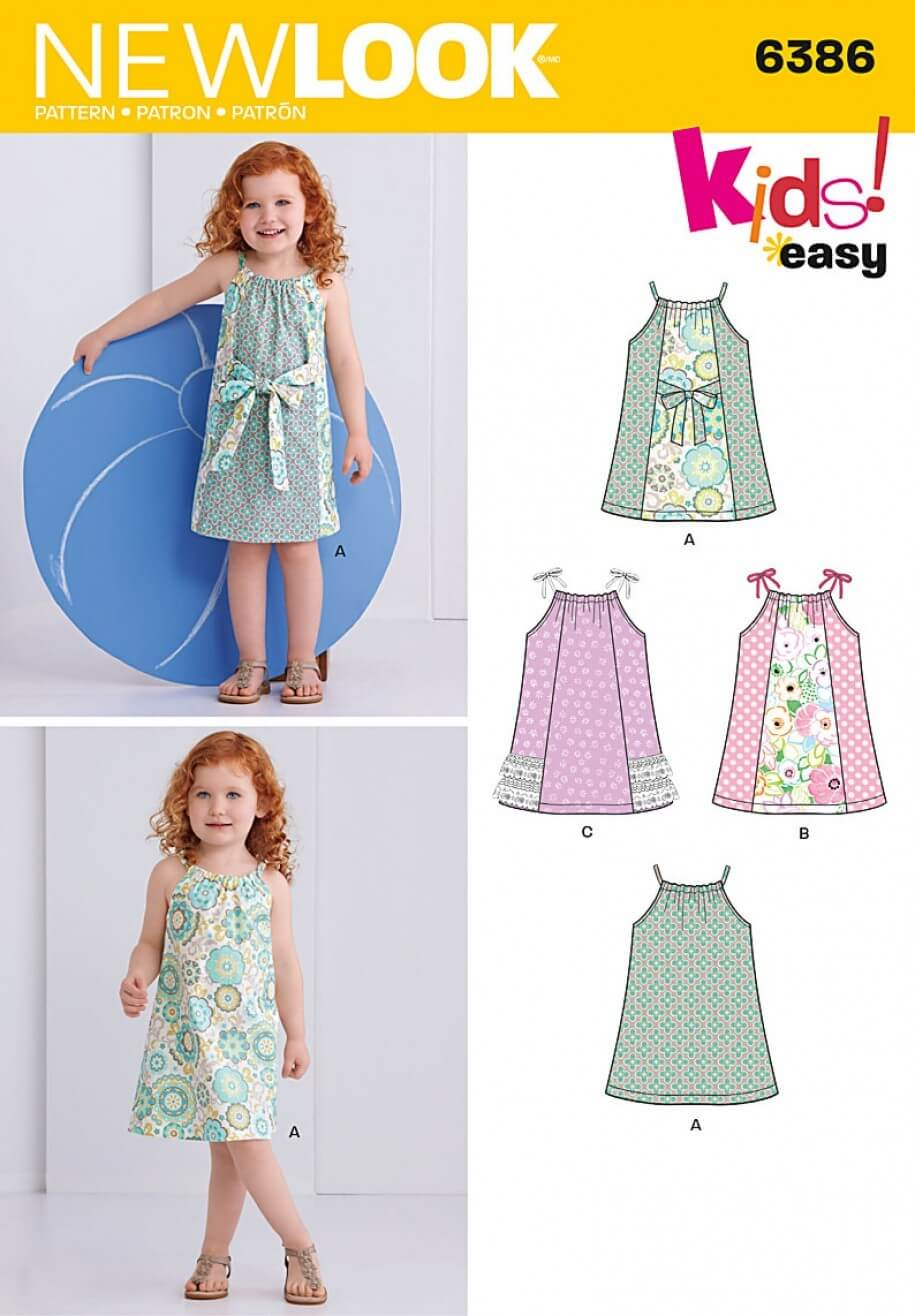 New Look Toddlers' Easy Pillowcase Dresses Sewing Pattern 6386