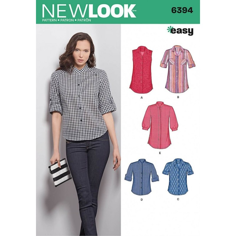 New Look Misses\' Button Front Tops Shirts Blouses Sewing Pattern 6394