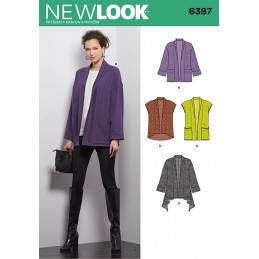 New Look Sewing Pattern 6397 Misses' Jacket and Vests Waistcoat Gilet