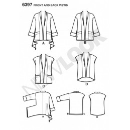 New Look Misses' Jacket and Vests Waistcoat Gilet Sewing Pattern 6397