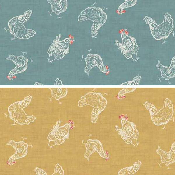 Home Grown Chickens Strutting About The Farm Hens 100% Cotton Fabric (Makower) (April)