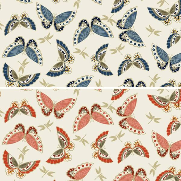 Japanese Garden Beautiful Butterflies & Dragonflies 100% Cotton Fabric (Makower) (June)