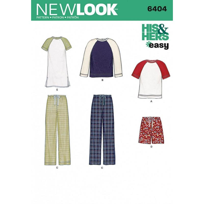 New Look Misses' and Men's Casual Separates Sewing Pattern 6404