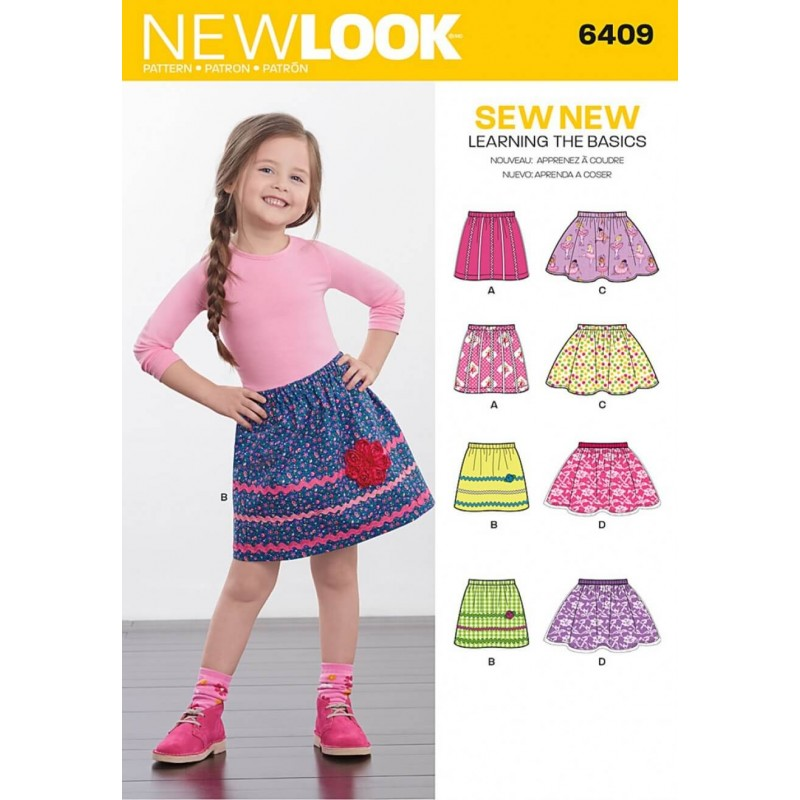 New Look Children's Easy Pull-On Skirts Elastic Waist Sewing Pattern 6409
