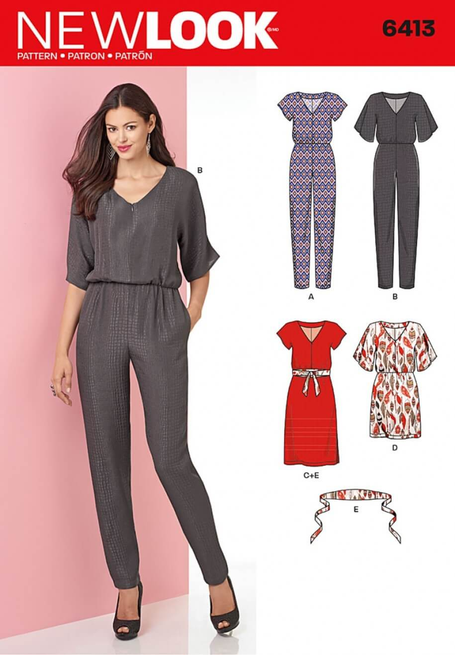 New Look Misses' Jumpsuit and Dress in Two Lengths Sewing Pattern 6413