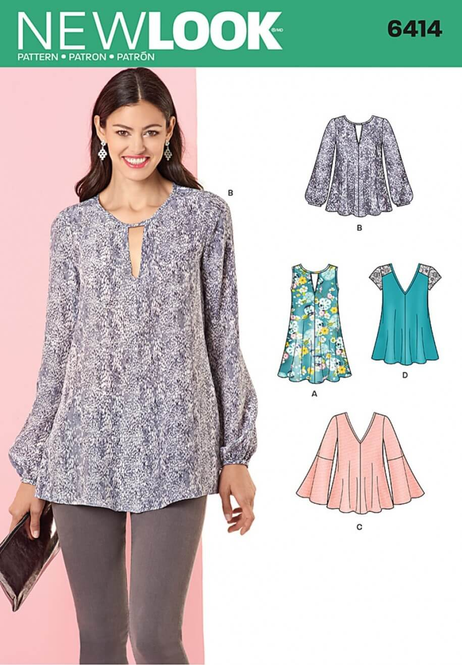 New Look Misses' Tunic and Top with Neckline Variations Sewing Pattern 6414