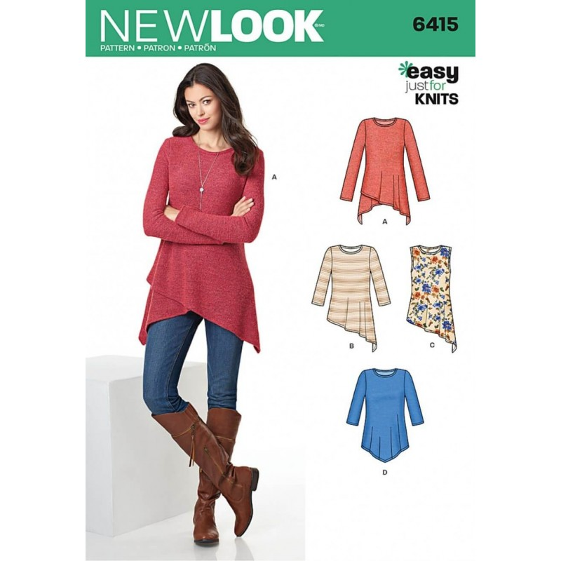 New Look Misses' Easy Just for Knits Knit Tunics Variations Sewing Pattern 6415