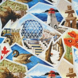 100% Cotton Fabric Nutex Canadian Scenes Canada CN Tower Hopewell Rocks