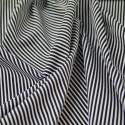 Black 100% Cotton Poplin Fabric Rose & Hubble 3mm Candy Stripes