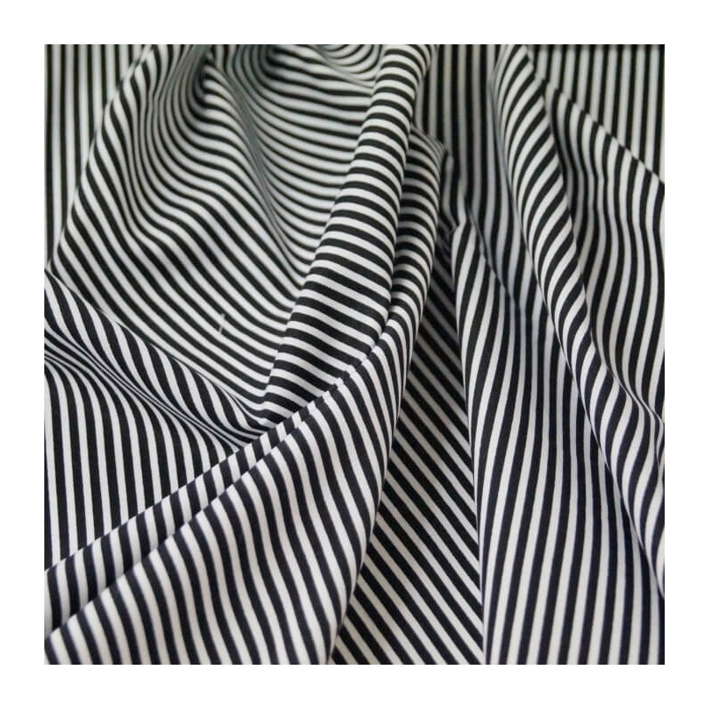 Black 100% Cotton Poplin Fabric Rose & Hubble 3mm Candy Stripes