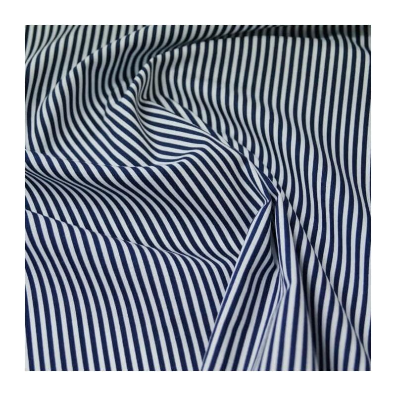 Navy 100% Cotton Poplin Fabric Rose & Hubble 3mm Candy Stripes