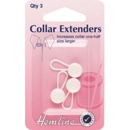 Hemline 3 x 12mm Collar Extenders Shirt Blouse Tight Collars Button
