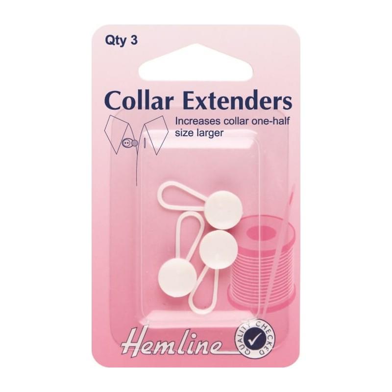 Hemline Collar Extenders Pack Of 3 White 12mm