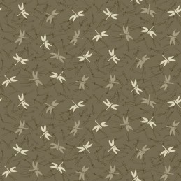 Japanese Garden Dragonflies Flying Around Pines 100% Cotton Fabric (Makower) (June)