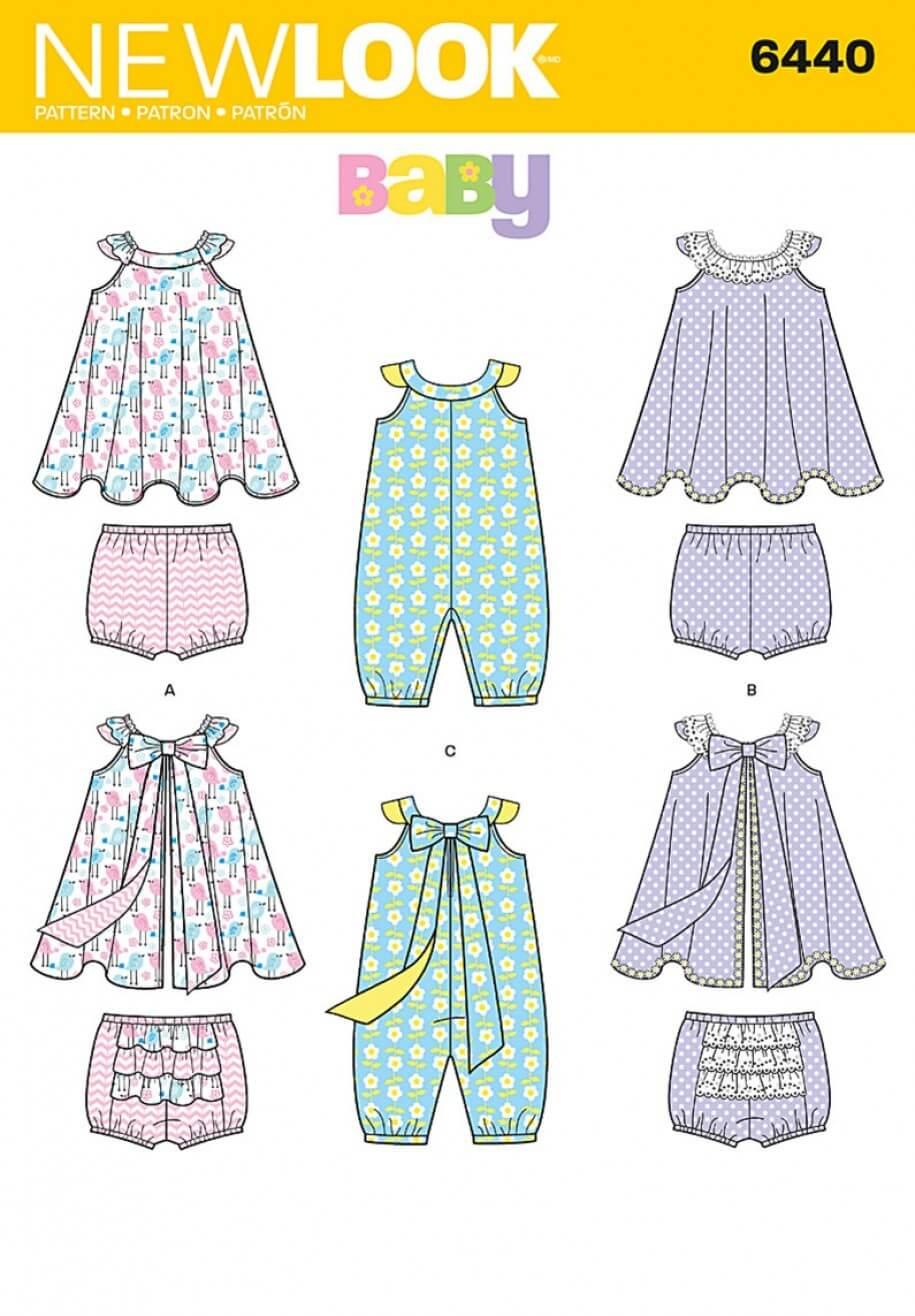 New Look Babies' Romper and Sundress with Panties Sewing Pattern 6440