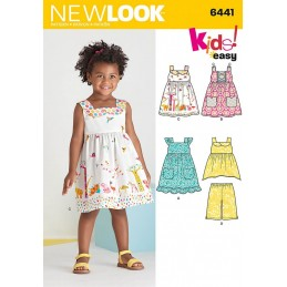 New Look Toddlers' Easy Dresses, Top and Cropped Pants Sewing Pattern 6441