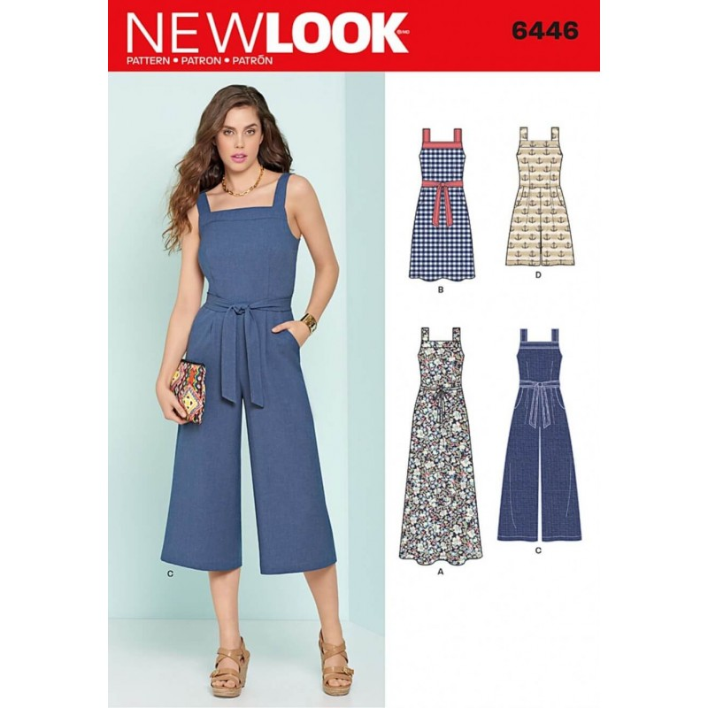 cb4ac8ac3b New Look Misses  Wide Leg Jumpsuits and Flare Dresses Sewing Pattern 6446