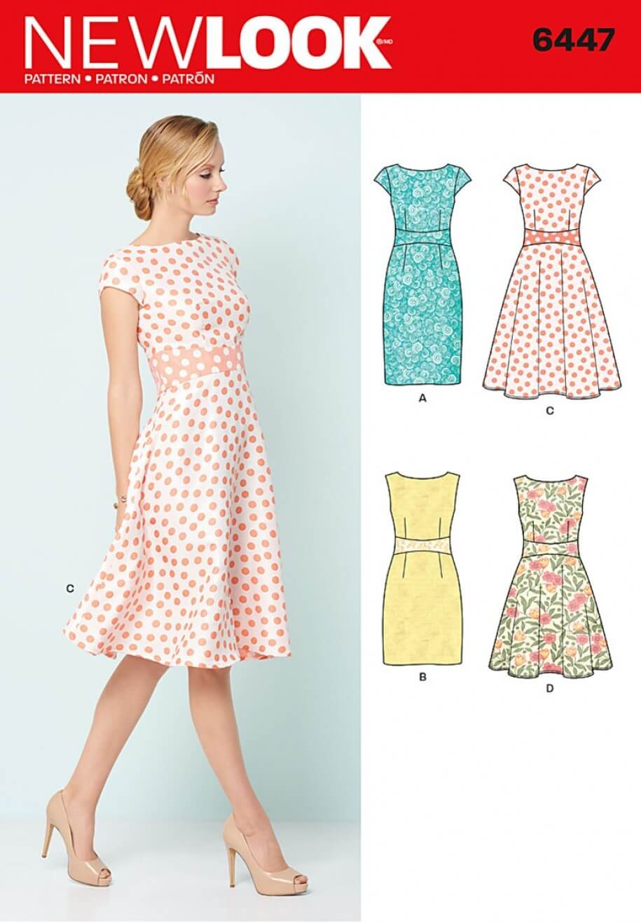 New Look Misses' Slim Fit or Flare Dresses Sewing Pattern 6447
