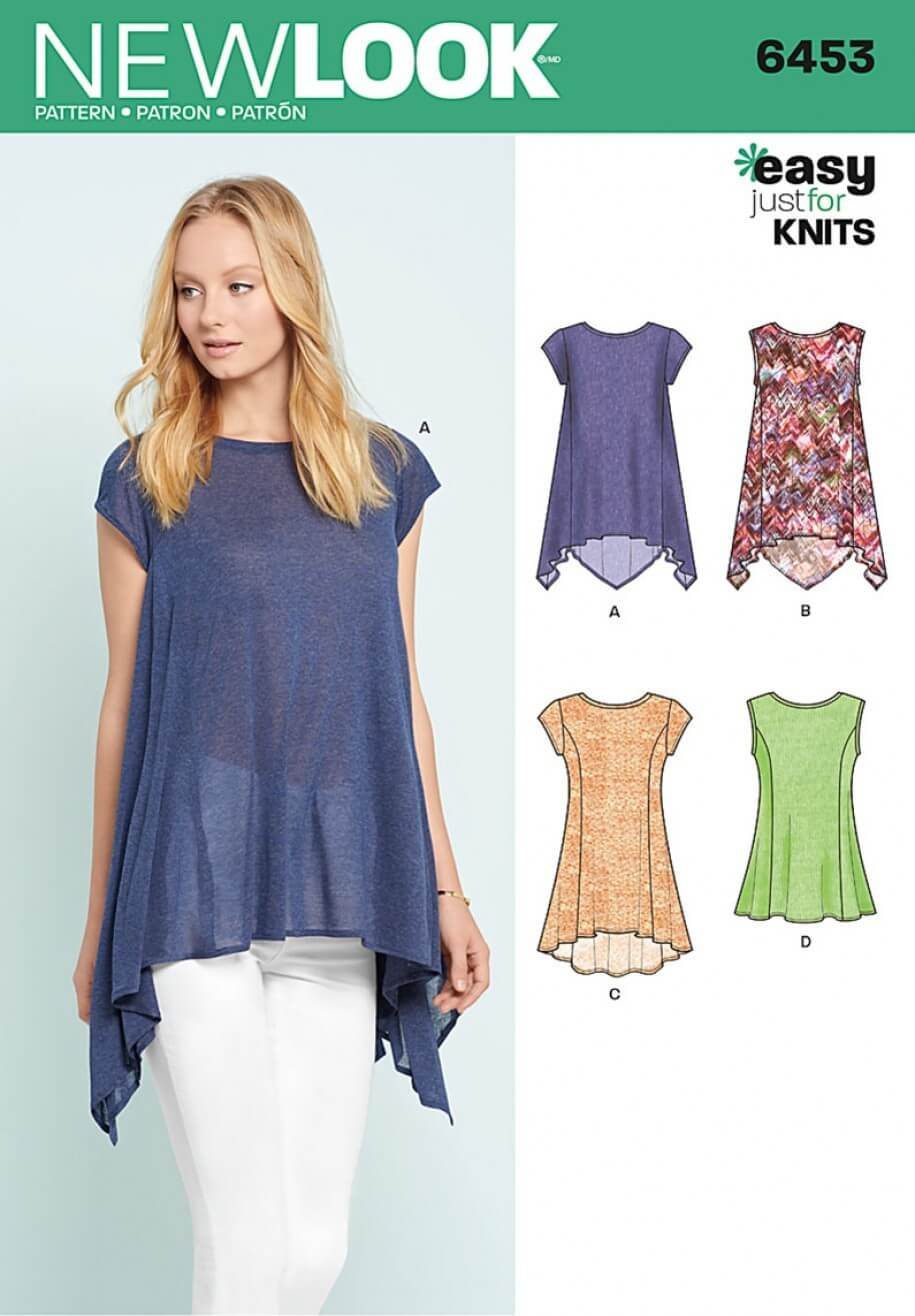 New Look Misses' Easy Casual Knit Tops Sewing Pattern 6453