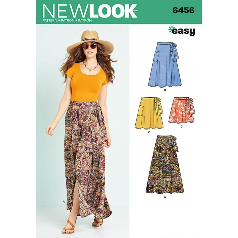 New Look Misses Easy Wrap Skirts In Four Lengths Sewing Pattern 6456