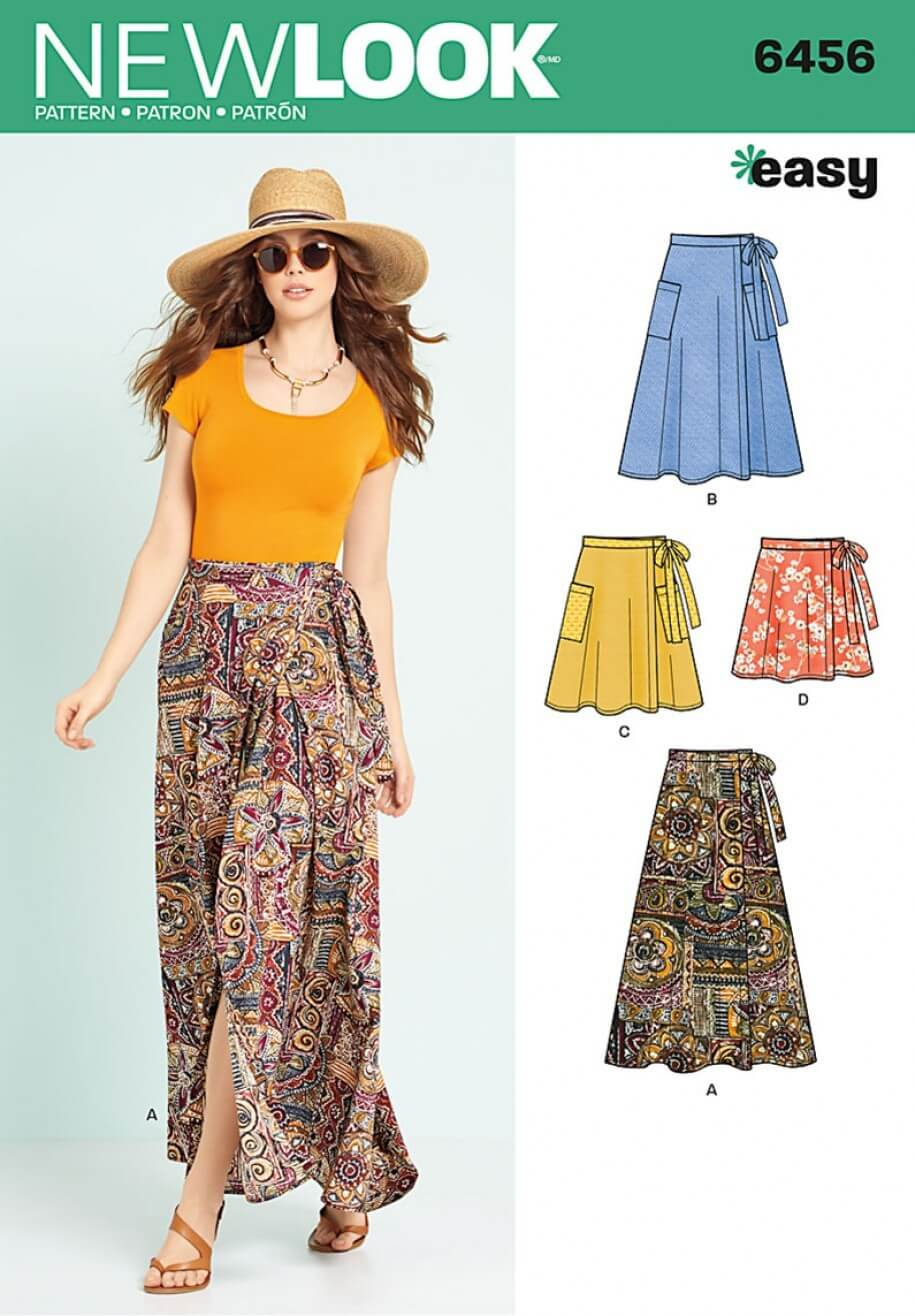 New Look Misses' Easy Wrap Skirts in Four Lengths Sewing Pattern 6456