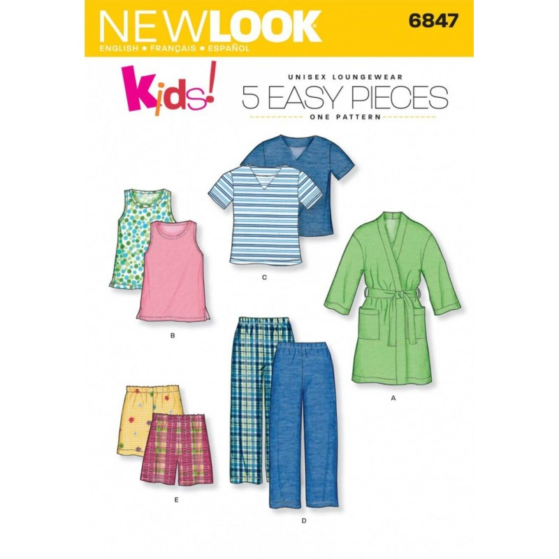 New Look Child Robe, Pajama Pants or Shorts and Knit Tops Sewing Pattern 6847
