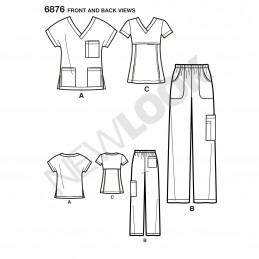New Look Miss/Men Scrubs Tops And Trousers Sewing Pattern 6876