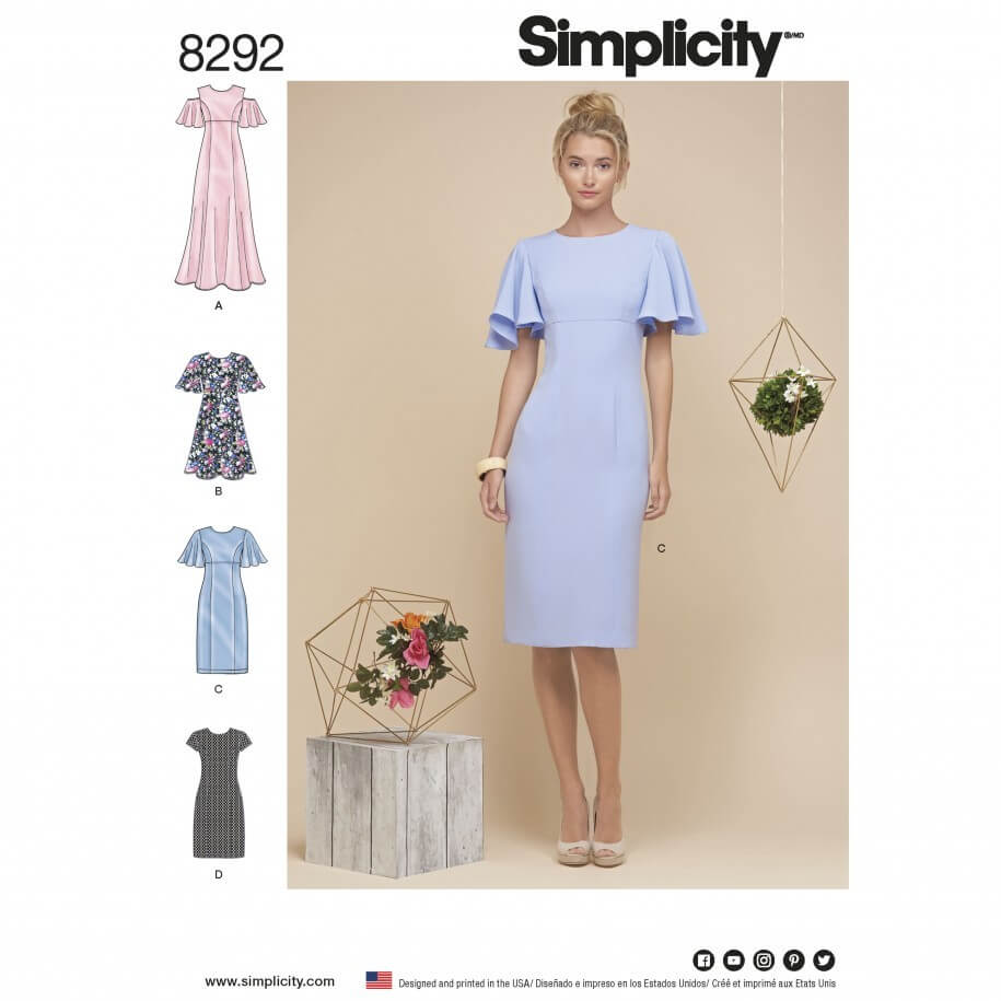 Misses' Angel Sleeve Pencil or Flare Dresses Simplicity Sewing Pattern 8292