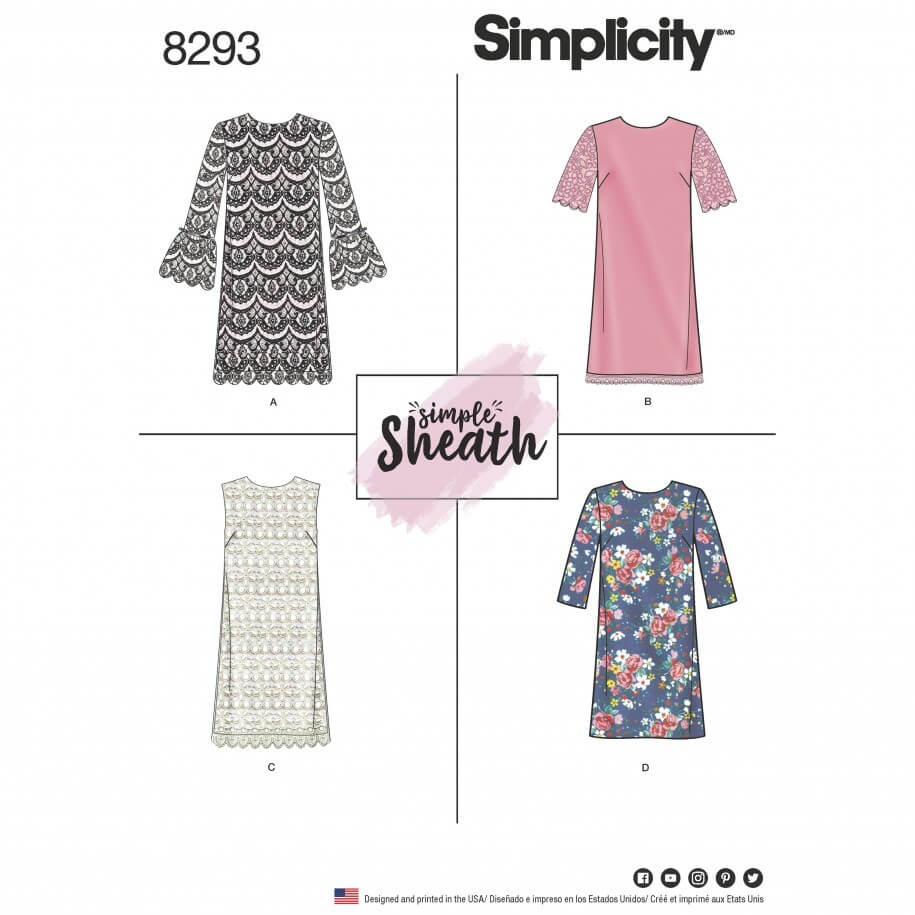 Misses' and Miss Petite Simple Sheath Dresses Simplicity Sewing Pattern 8293