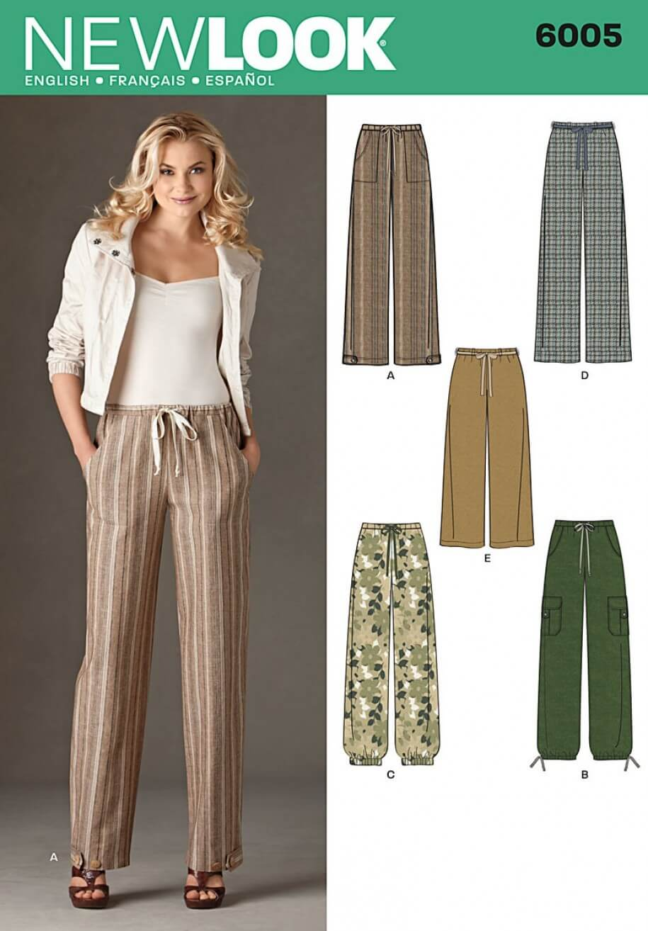 New Look Misses' Pull On Trousers With Pockets Sewing Pattern 6005